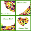 Set of 4 backgrounds with a variety of fruits, vector — Stock Vector