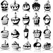 Set of vector cupcakes - Stock Vector