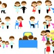 Set Family Icons — Stock Vector