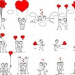Valentine doodle boy and girl, vector — Image vectorielle