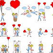 Stock Vector: Valentine doodle boy and girl, vector