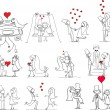 Set of wedding pictures, bride and groom in love — Stock Vector