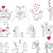 Set of wedding pictures, bride and groom in love — Векторная иллюстрация