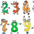 Cartoon numbers - Stock Vector