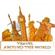 Travel around the world, background — Stock Vector