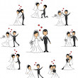 Stock Vector: Wedding cartoon characters - bride and groom
