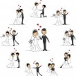 Wedding cartoon characters - the bride and groom — Stock Vector #13737441