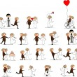 Set of wedding pictures, bride and groom in love, the vector — ベクター素材ストック