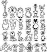 Cartoon of animals. black and white — Stock Vector