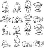 Cartoon van baby's. Blask en wit — Stockvector