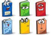 Cartoon school notebooks — Stock Vector