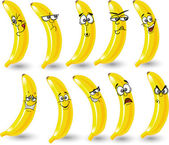 Cartoon bananas with emotions — Vecteur