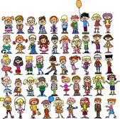 Cute happy cartoon children — Stock Vector