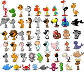 Set of cartoon vector animals — Stock Vector