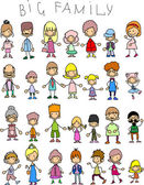 Doodle members of large families — Stock Vector