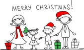 рождественская семья — Cтоковый вектор