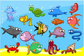 Cartoon fishes in the sea, vector illustration — Stock Vector