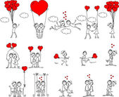 Valentine doodle boy and girl, vector — Vettoriale Stock