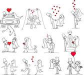 Sada svatební fotografie, nevěsta a ženich v lásce — Stock vektor