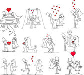 恋に新郎新婦の結婚式の写真のセット — ストックベクタ
