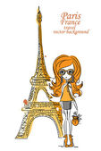Fashion Cartoon Girl travels the world, vector background — Stock Vector