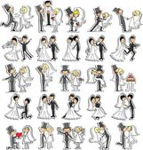 Set of wedding pictures, bride and groom in love, the vector — Vecteur