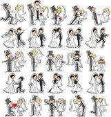 Série de photos de mariage, mariée et le marié dans l'amour, le vecteur — Vecteur