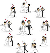Personagens de desenhos animados de casamento - noiva e do noivo — Vetor de Stock