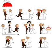 Set of wedding pictures, bride and groom in love, the vector — Stockvector