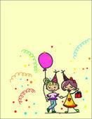 Cartoon kids celebrate birthday — Stock Vector
