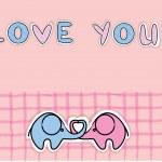 Cute love elephants, vector — Stock Vector #13880694
