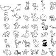 Set of children's icons of animal , white and black background — Stockvektor