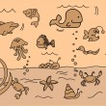Set of children's icons of marine animals — Stock Vector #13880636