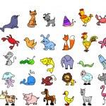 Set of children's icons of animal — Stock Vector