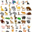 Extra large set of animals including lion, kangaroo, giraffe, elephant, camel, antelope, hippo, tiger, zebra, rhinoceros — Stock Vector #13880718