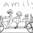 Child's drawing of the family on a bicycle, vector — Stock Vector #13880736