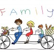 Child's drawing of the family on a bicycle, vector — Stock Vector #13880737