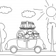 Happy family going on holiday by car, black and white coloring — Stock Vector