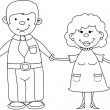 Happy family holding hands Hand drawing Isolated on white background — Stock Vector