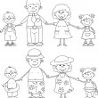 Happy family holding hands , black and white coloring — Stock Vector #13880825