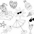 Beach icon set, black and white coloring — Stock Vector