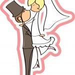 Wedding picture, bride and groom in love, vector — Stock Vector #13881042