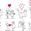 Wedding pictures, bride and groom — Vector de stock