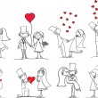 Wedding pictures, bride and groom — Vector de stock #13881064