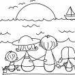 Stock Vector: Childrens drawing families from sea, vector