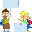 Cute students hold banners - Stock Vector