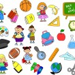 Cute schoolboys and schoolgirls, School elements, — Stock Vector