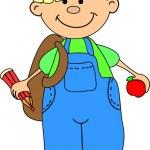 Cartoon cute schoolboy — Stock Vector #13881596