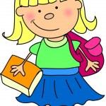 Cartoon cute schoolgirl — Stock Vector #13881808
