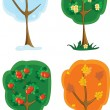 Spring, summer, autumn, winter, four seasons tree — Imagen vectorial